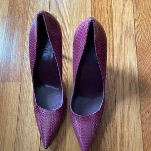 Gucci Ayers Snake Skin Bamboo Stiletto Pumps